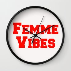 Femme Vibes - Red Wall Clock