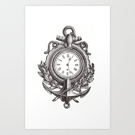 Anchor clock cell phone case Art Print