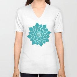 Teal mandala flower, geometrical floral pattern Unisex V-Neck