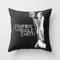 middle earth Throw Pillows featuring stairway to middle-earth by jerbing