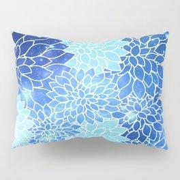 Space Dahlias Sky Blue Pillow Sham