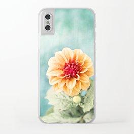 Aqua Orange Dahlia Flower Photography, Turquoise Teal Peach Nature Art Clear iPhone Case