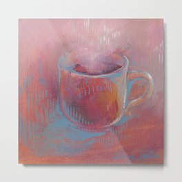 Pink Coffee Cup Metal Print