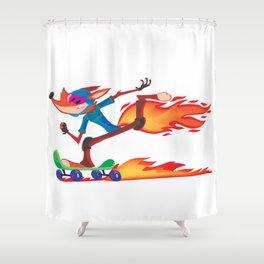 Fox Skater Shower Curtain
