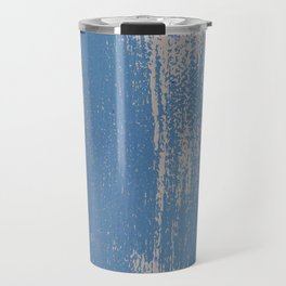 White on Blue Painted Wall Texture Travel Mug