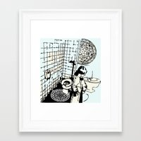 toilet Framed Art Prints featuring TOILET CLEANING by Sofia Youshi