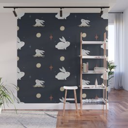 Bunnies on the Moon (Patterns Please) Wall Mural
