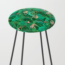 Sloths in the Emerald Jungle Pattern Counter Stool