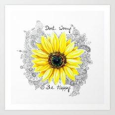 Don't Worry, Be Happy Sunflower Art Print