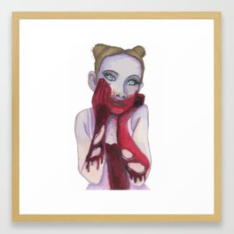 Cute Zombie Girl Framed Art Print