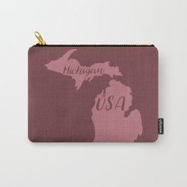 Michigan, USA Outline in Rich Pinks Carry-All Pouch
