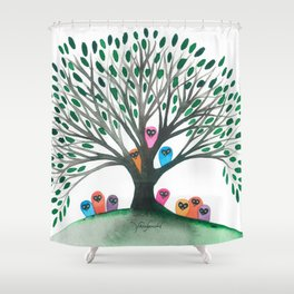 Minnesota Whimsical Owls in Tree Shower Curtain