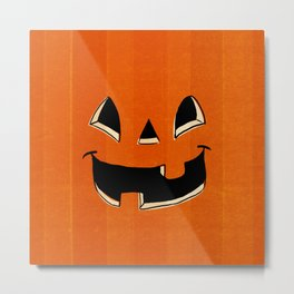 Trick or Treat Halloween Pumpkin Face Metal Print