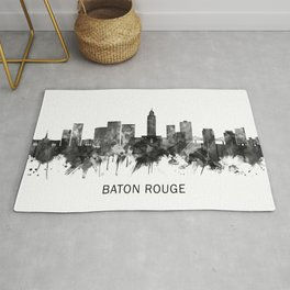 Baton Rouge Louisiana Skyline BW Rug