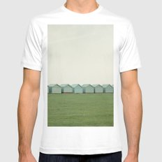 Beach Huts MEDIUM White Mens Fitted Tee