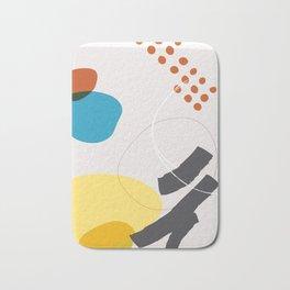 Shape & Hue Series No. 1 – Yellow, Orange & Blue Modern Abstract Bath Mat