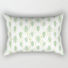 Leaf Art 3 Green, leaves, nature art, leaf design, leaf pattern, watercolor art design Rectangular Pillow
