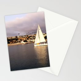 Sailing At Sunset in Newport Harbor Stationery Cards