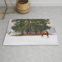 Winter in Horse Country Rug