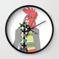 rooster Wall Clocks featuring Rooster by Nathalie Otter
