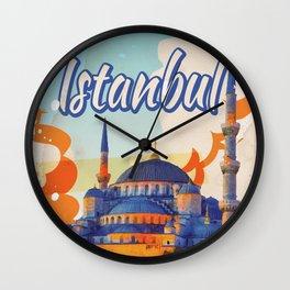 Istanbul Aya Sophia Mosque vintage travel poster Wall Clock