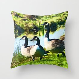Canada Geese Dream | Painting Throw Pillow