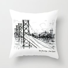 SF Bay Bridge Throw Pillow