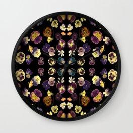 Dark Pansies Wall Clock