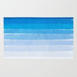 Blue Ombre Brushstroke - Summer, Beach, Ocean, Water, LA Cute trendy, painterly art Rug