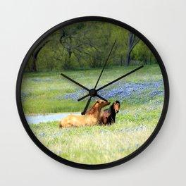 Horses & Bluebonnets Wall Clock