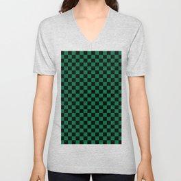 Black and Cadmium Green Checkerboard Unisex V-Neck
