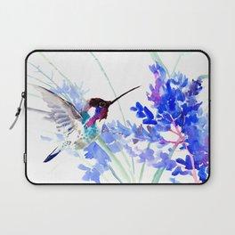 Flying Hummingbird and Blue Flowers Laptop Sleeve