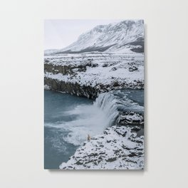 Waterfall in Icelandic highlands during winter with mountain - Landscape Photography Metal Print