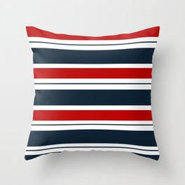 Red, White, and Blue Horizontal Striped Throw Pillow