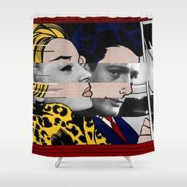 """Roy Lichtenstein's """"In the car"""" & Marcello Mastroianni with Anita Ekberg Shower Curtain"""