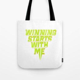 Winning Starts With Me Running Runner 5K Fun Run Green Tote Bag