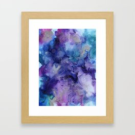 Abstract Watercolor Coastal, Indigo, Blue, Purple Framed Art Print