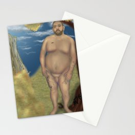 Nude Bear Leaning on a Tree Stationery Cards