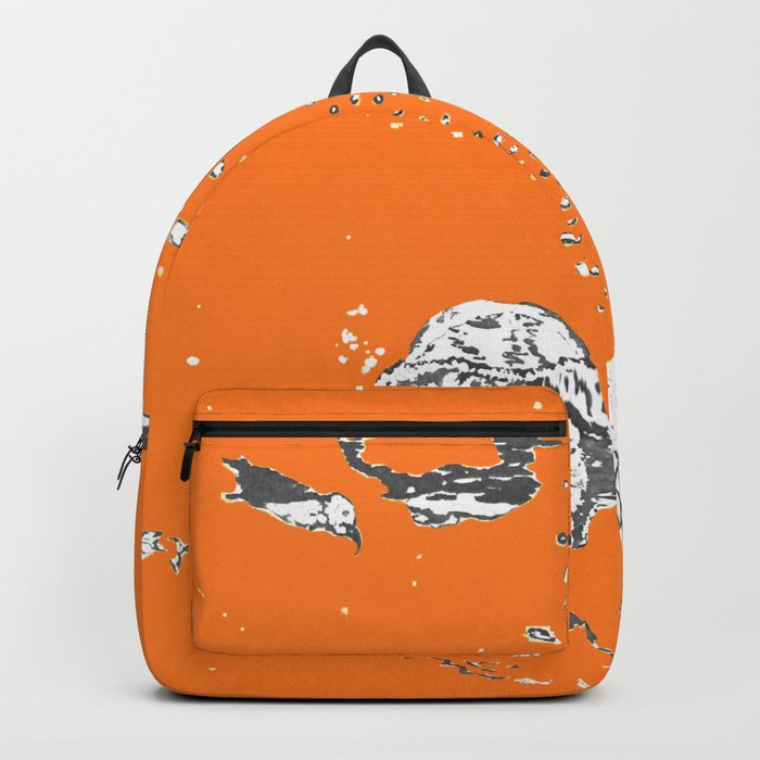Two Tailed Duck and Jellyfish Orange Backpack