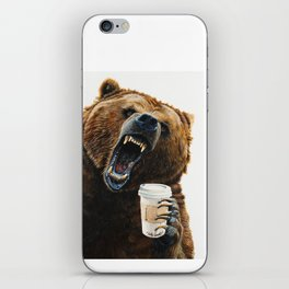 """"""" Grizzly Mornings """" give that bear some coffee iPhone Skin"""