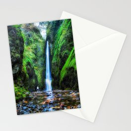 Photos USA Oneonta Falls Oregon Rock Nature Waterfalls Moss Crag Cliff Stationery Cards