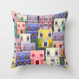 Puerto Rico architecture pattern in spring Throw Pillow