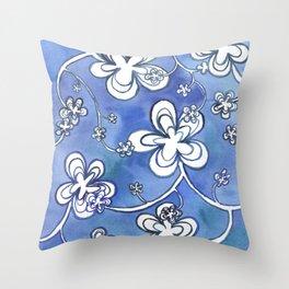 Blue follie Throw Pillow