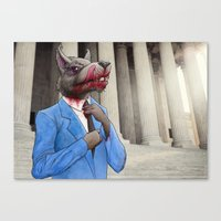 wolf of wall street Canvas Prints featuring The Wolf of Wall Street by AWolf Illustrations