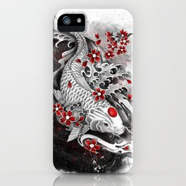 White Koi and sakuras iPhone Case