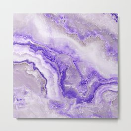 Ultra Violet and Gray Marble Agate Quartz Metal Print