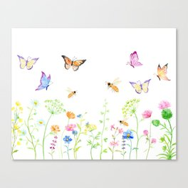 Watercolor Wildflower Meadow and Butterflies Canvas Print