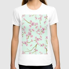 Spring Flowers - Mint and Pink Cherry Blossom Pattern T-shirt