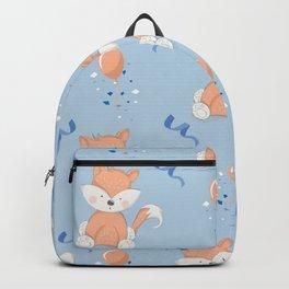 Happy Birthday Fox Blue Pattern Backpack