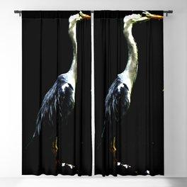 Heron on Black Blackout Curtain